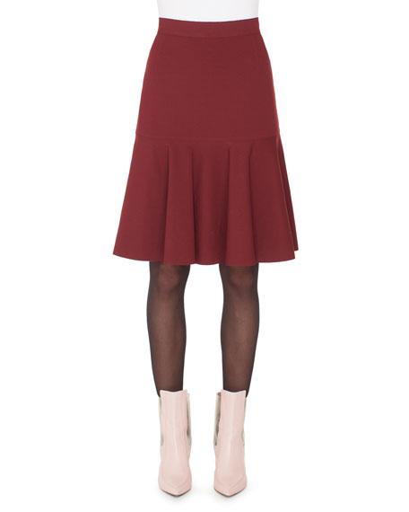 High-Waist Bell-Shape Scuba Velvet Knee-Length Skirt