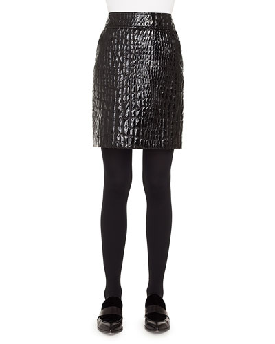 Crocodile-Embossed Patent Leather Pencil Skirt