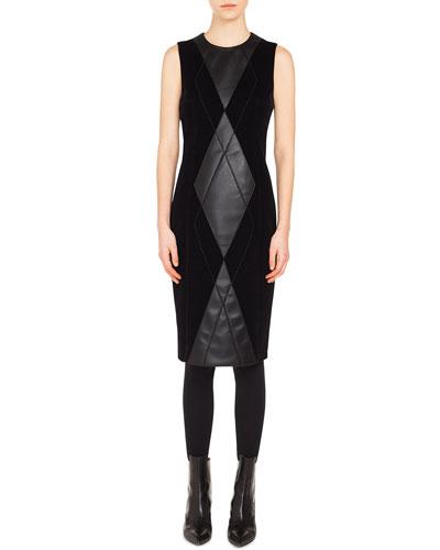 Sleeveless Argyle-Front Velvet & Leather Sheath Dress
