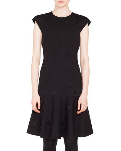 Zip-Front Cap-Sleeve Tonal-Dot Embroidered A-Line Dress