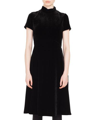 Mock-Neck Short-Sleeve Scuba Velvet A-Line Midi-Length Dress