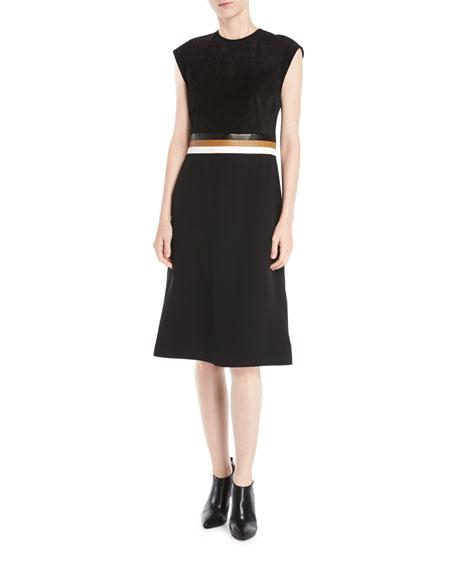 DEREK LAM Sleeveless A-Line Stretch Cady Dress W/ Leather Belt Insert in Black