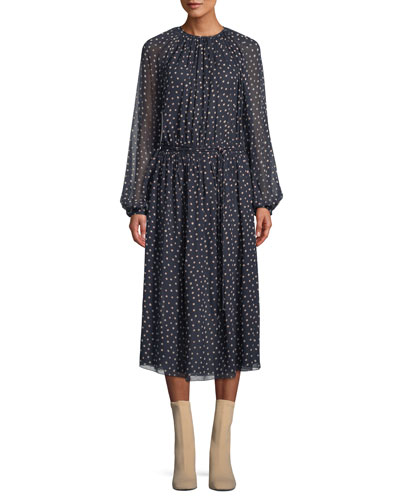 Long-Sleeve Racing Dot Peasant Dress