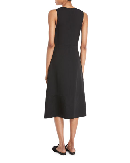Pebble Crepe V-Neck Sleeveless Midi Dress
