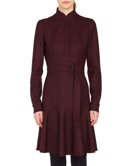 Akris punto Long-Sleeve Stand-Collar Flannel Wool Dress w/
