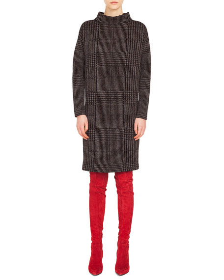 Akris punto Turtleneck Long-Sleeve Houndstooth Metallic Jacquard