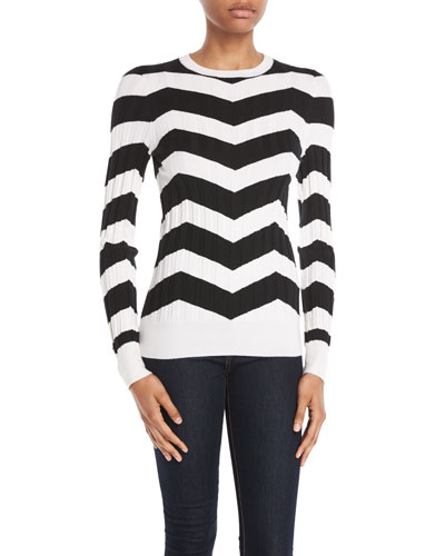 Crewneck Long-Sleeve Chevron Cashmere-Silk Sweater