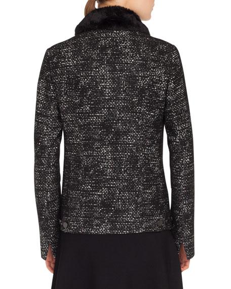Button-Front Bicolor Tweed Jacket w/ Detachable Faux-Fur Collar