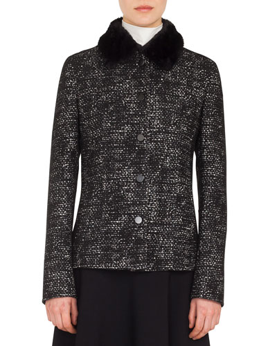 Button-Front Bicolor Tweed Jacket w/ Detachable Faux-Fur Collar