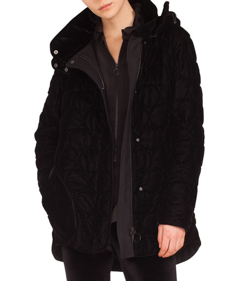 STAND-COLLAR DETACHABLE HOOD ZIP-FRONT QUILTED PARKA JACKET