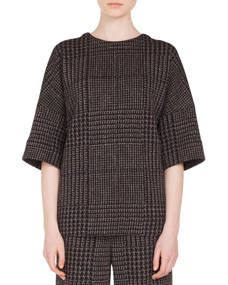 Round-Neck Elbow-Sleeve Metallic Houndstooth Jacquard Shirt