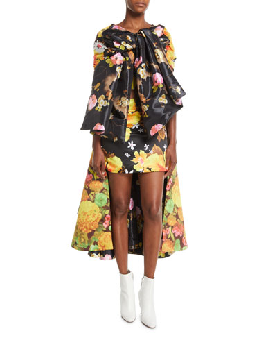 Multicolor Floral-Print Tie-Front A-Line Cocktail Dress