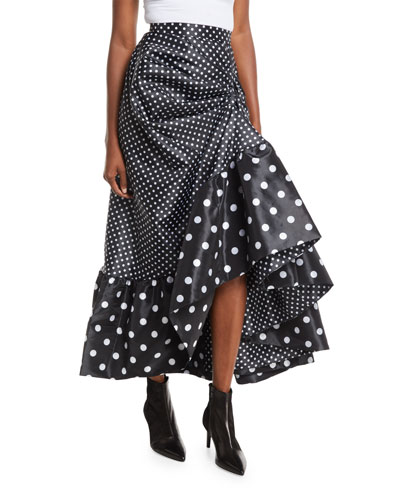 Polka-Dot Gathered Skirt