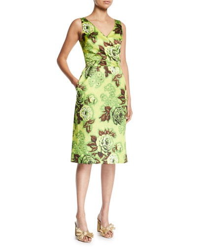 Sleeveless V-Neck Floral-Print Pencil Dress