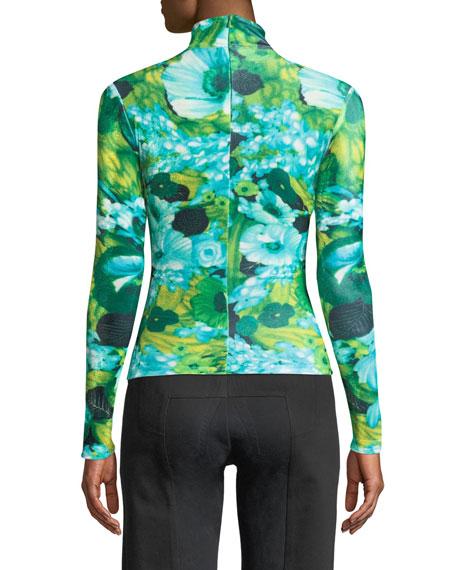 Turtleneck Long-Sleeve Floral-Print Top