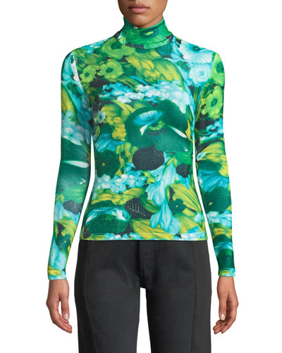 Turtleneck Long-Sleeve Floral-Print Top