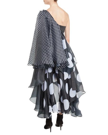 One-Shoulder Paneled Polka-Dot Multi-Fabric Cocktail Dress