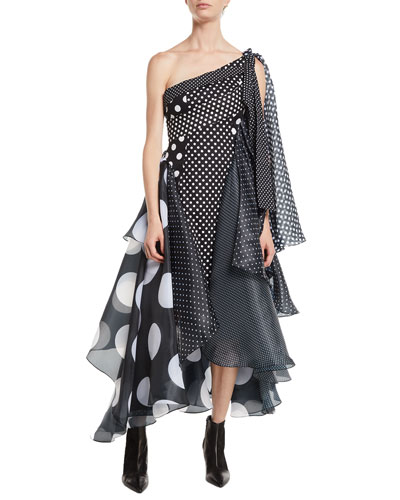 One-Shoulder Paneled Polka-Dot Multi-Fabric Cocktail Dress