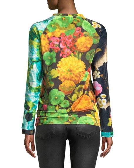Crewneck Long-Sleeve Floral-Print Velvet Top