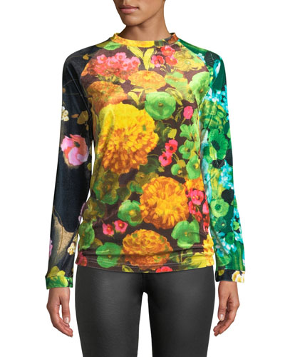 Crewneck Long-Sleeve Floral-Print Velvet Top