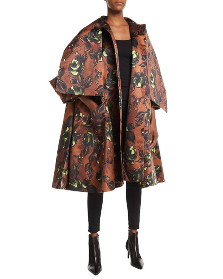 Tie-Neck Button-Front Voluminous Floral-Print Coat