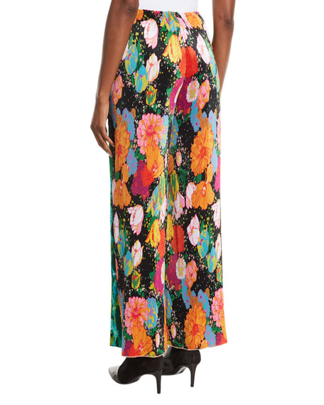 High-Rise Multicolor Floral-Print Plisse Wide-Leg Pants