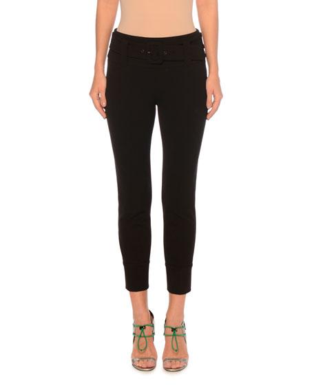 Prada Belted Zip-Cuffs Skinny Cropped Gabardine Tech Pants