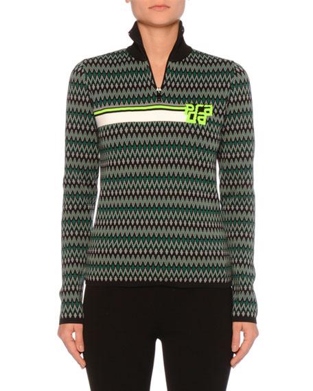 1/4-Zip Chevron-Knit Top w/ Logo