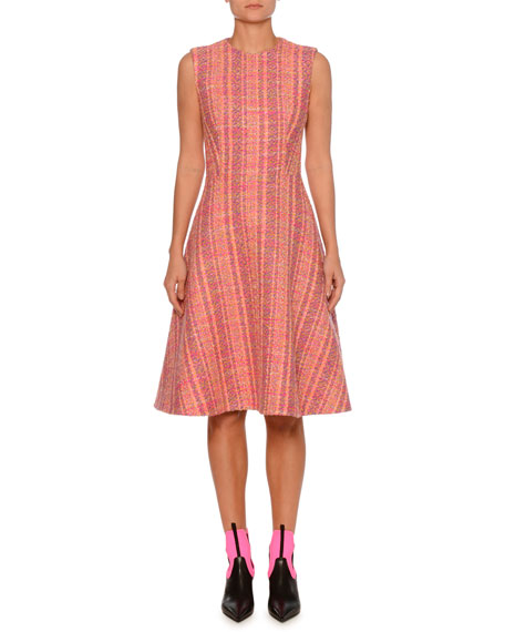 Tweed Boucle Sleeveless Fit-and-Flare Dress