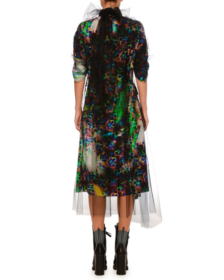 Liquid Daisy Printed High-Neck Dress