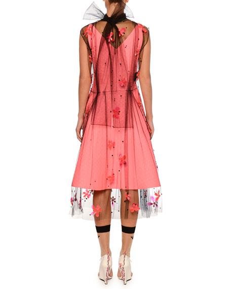 Flower Embellished Tulle Dress Overlay
