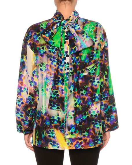 a5673dd2919a48 Prada High-Neck Long-Sleeve Printed Silk Crepe de Chine Blouse