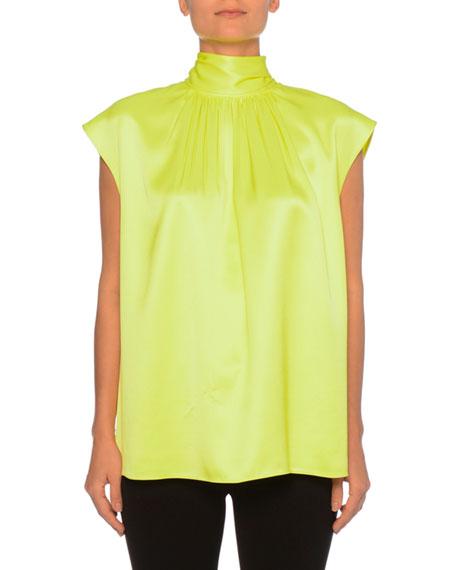 292d36b89152b2 Prada Sleeveless High-Neck Back-Bow Silk Top