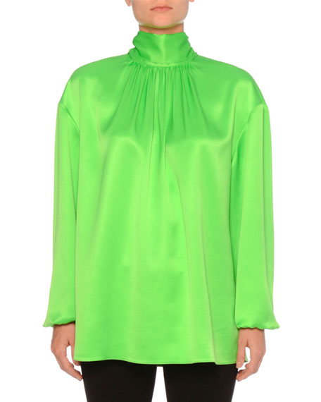 Long-Sleeve High-Neck Silk Top W/ Back Bow in Green