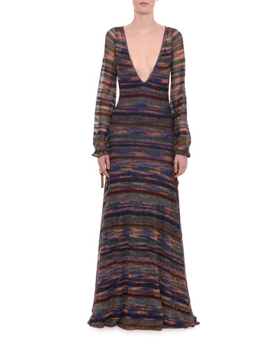 Deep-V Long-Sleeve Elastic Cuff Metallic-Stripe Long Dress