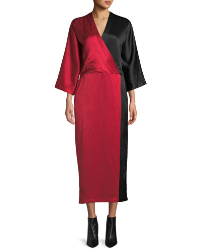 Oki Long-Sleeve Colorblocked Long Satin Wrap Dress
