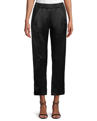 Elli Slim Straight-Leg Satin Cropped Pants