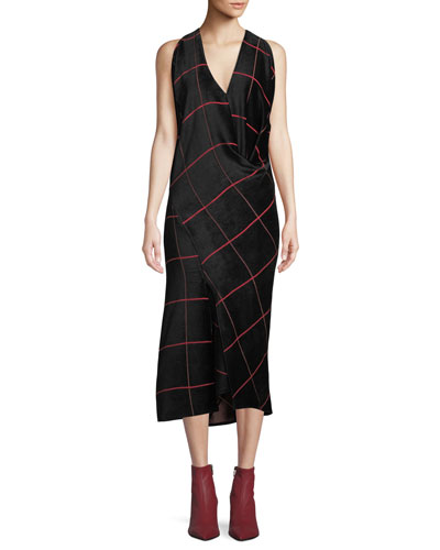 Sarah Bias-Cut Grid Midi Dress