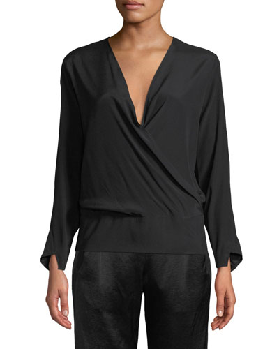 Jazmin Long-Sleeve Silk Wrap Top