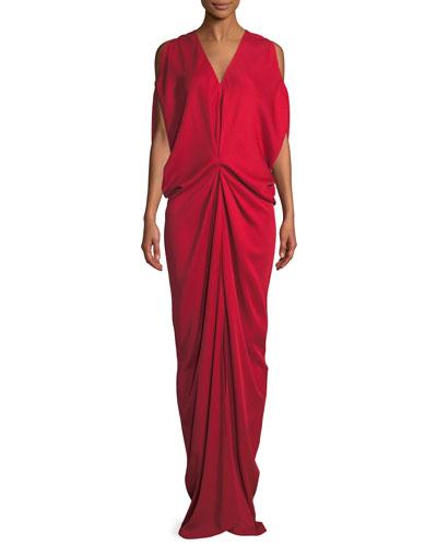 Miu V-Neck Sleeveless Draped Long Dress