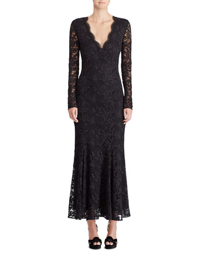 50th Anniversary Estella V-Neck Long-Sleeve A-Line Lace Evening Gown