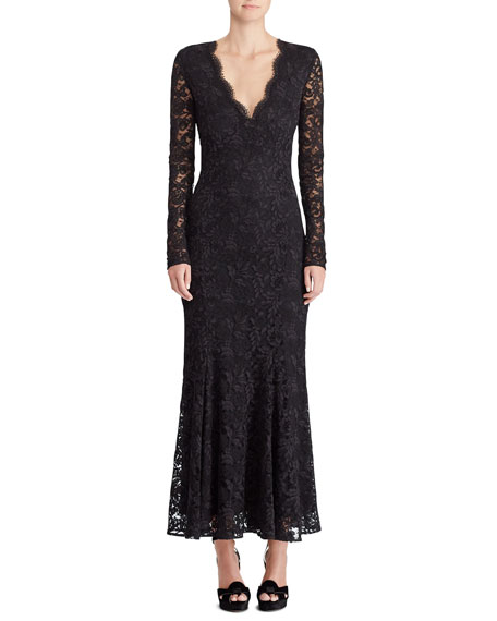 126bb13e386 Ralph Lauren Collection 50th Anniversary Estella V-Neck Long-Sleeve A-Line Lace  Evening Gown