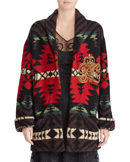 50th Anniversary Shawl-Collar Intarsia Cashmere-Wool Cardigan w/ Embroidered Crest Detail