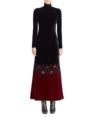 50th Anniversary Reiley Turtleneck Long-Sleeve Velvet Evening Gown w/ Contrast Hem
