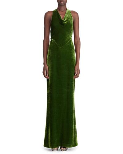 50th Anniversary Perla Cowl-Neck Sleeveless Twist-Back A-Line Velvet Evening Gown