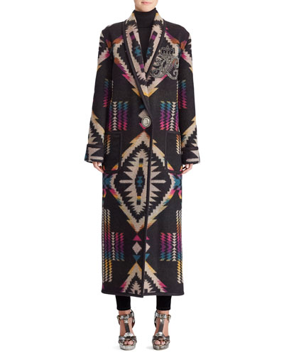 50th Anniversary Sauville Embellished One-Button Tapestry-Intarsia Long Coat