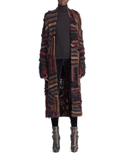 50th Anniversary Open-Front Crochet Patchwork Long Coat