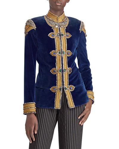 50th Anniversary Embellished Velvet Barrack Jacket
