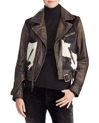 50th Anniversary Hadley Leather Jacket w/ Calf Hair