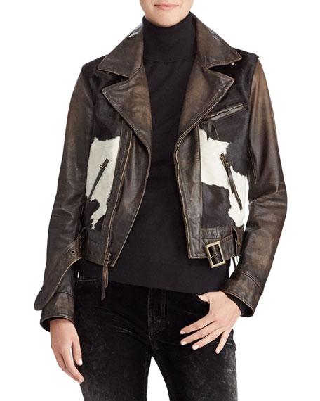 50Th Anniversary Hadley Leather Jacket W/ Calf Hair, Espresso
